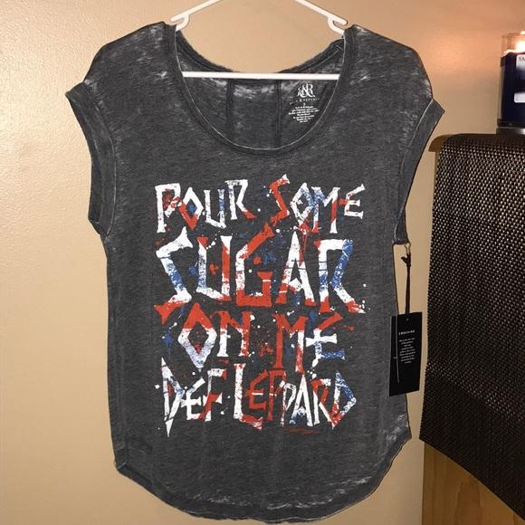 🇺🇸NWT Rock & Republic Sm  Def Lepard Grey Shirt NWT